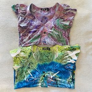 Pair of Colorful Boho Pattern Women's Tops Small